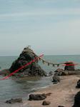 夫婦岩・片理の方向
